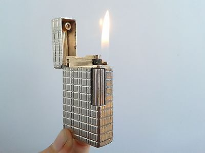 Authentic Lighter Dupont Vintage BR Line 1 Large Silver Plated Paris Luxe