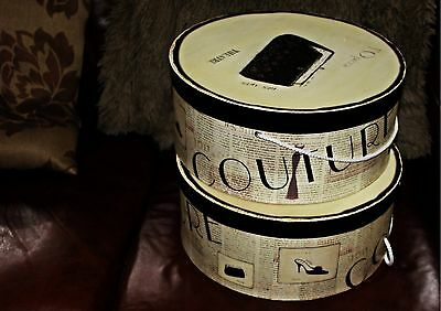 """""""2 Couture Hat Boxes"""". In Great Shape! 14inch x 6inch...."""