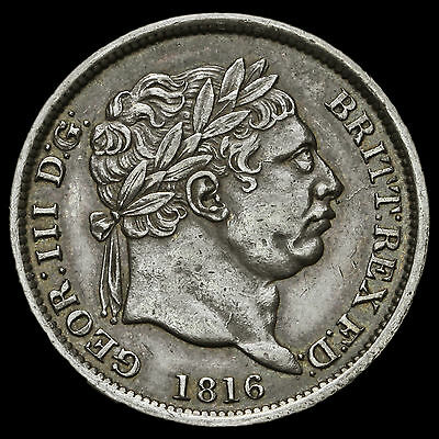 1816 George III Milled Silver Shilling – A/EF