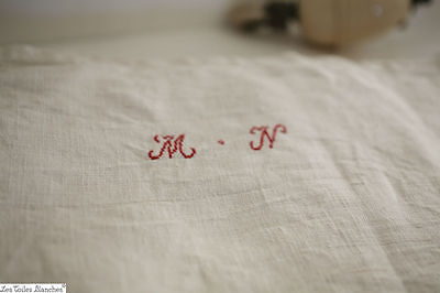 Antique RUSTIC PATCHED long French HEAVY LINEN torn sheet MN c 1850