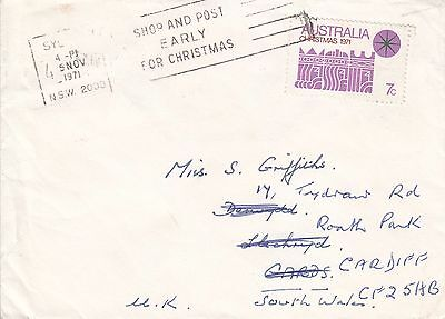 B 772 Sydney NSW Christmas 1971 7c stamp paying printed matter rate mail to UK