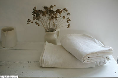 Antique RUSTIC rare French PAIR HOMESPUN LINEN sheet EE c 1800