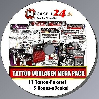 Die ultimative Tattoo-CD! 11 Pakete + 5 eBooks - Tätowierungen Vorlagen Premium