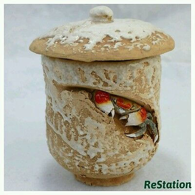 Crab Pottery Tea cup   Free Shipping Japan Antique Vintage 170222