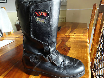 Gc *bgb* Water Resistant Black Leather Motorbike / Motorcycle Boots Size 7 Uk