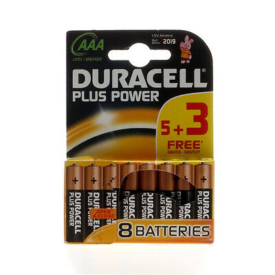 8 Pilas Duracell Plus Power Aaa; Lr3; Lr3T/4B; Mn2400; Mini Stilo; Micro Battery