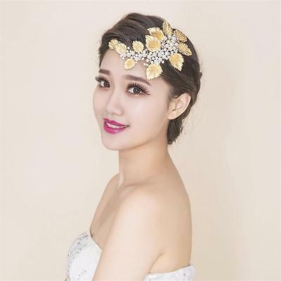 Vintage Wedding Bridal Crystal Pearl Gold Hair Accessories Headband Crown Tiara