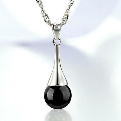 Fashion Jewellery 925sterling silver Exquisite black agate ball Pendant Necklace