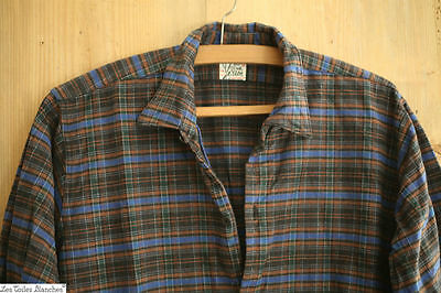 Vintage French PEASANT HEAVY cotton FLANNEL WORK WEAR men'shirt PLAID c 1930