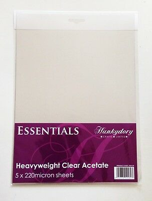 Hunkydory Crafts Heavyweight Clear Acetate - Pack 5 x A4 Sheets 220 micron