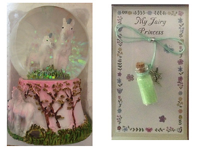 1 x SNOWGLOBE Waterball With UNICORNS Inside & 1 x FAIRY DUST Necklace GREEN