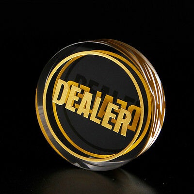 Double Sided Crystal Gold Dealer Button Texas Hold'Em Poker Card Game