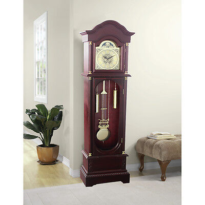 Antique Grandfather Clock Traditional Longcase Solid Wood Glass Door Gold Finish