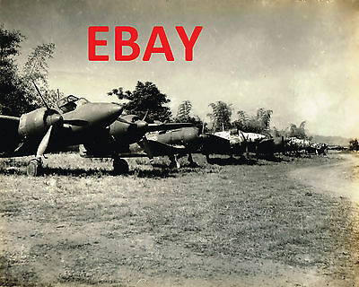 Wwii Huge 11X14 Photograph Of Captured Japanese Bombers Aircraft On Saidor Look