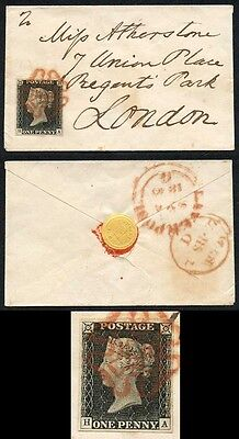 Penny Black (HA) Plate 3 SUPERB 4 MARGIN Tiny Envelope Contrary to Regulations