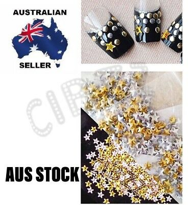 100x Nail Art Decoration Stud Star Retro GOLD & SILVER Mix Glue On Beads Tools