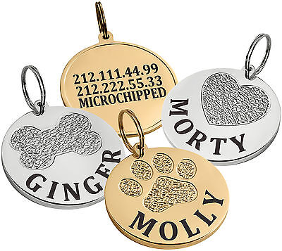 Dog ID Tag Personalized Pet Cat Puppy Name Custom Engraved Gold or Chrome S L