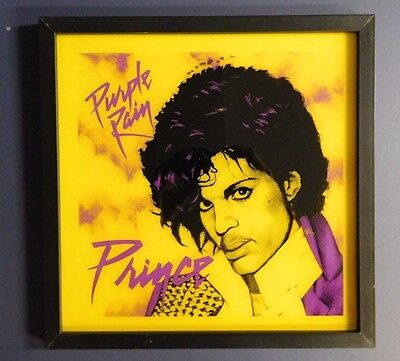"Vintage 1982 Prince Purple Rain Mirror In Frame 12"" X 12"" Ready To Hang! Nice!!"