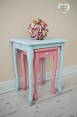 Pair Pink Duck Egg Nested Tables with Detailed Side & Front Flower Shabby Chic