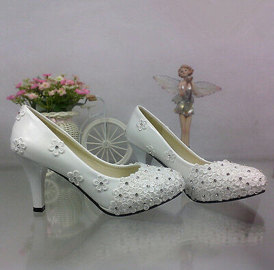 hot white light lace crystal flowers Wedding shoes Bridal heels pumps size 5-10