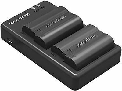 RAVPower 2100mAh Rechargeable Camera Battery And Charger Set For Nikon EN-EL15