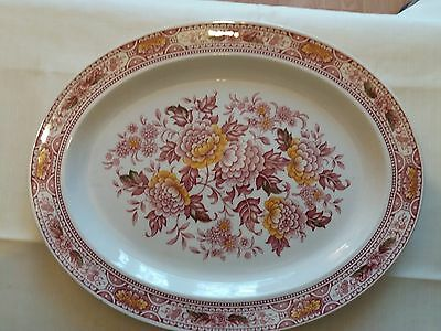 """Ridgway Canterbury Oval Platter Meat Serving Red England Vintage China 14"""""""