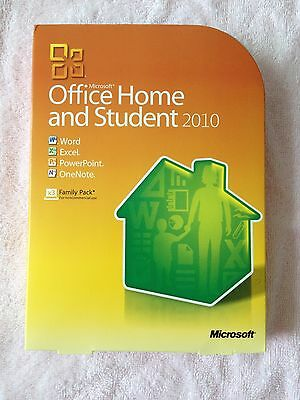 Microsoft Office 2010 Home and Student Retail Family NEW