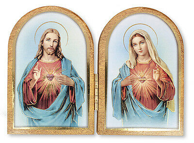 Sacred Heart Jesus Mary Folding Wooden Plaque - Pictures Candles Statues Listed