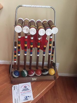Vintage Forster Skowhegan Deluxe Croquet Set 6 Players Flags Wickets Complete