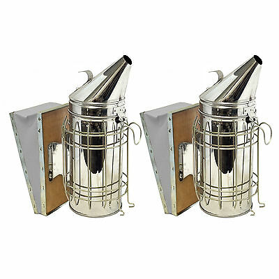 Set of 2 Bee Hive Smoker Stainless Steel with Heat Shield Beekeeping Equipment