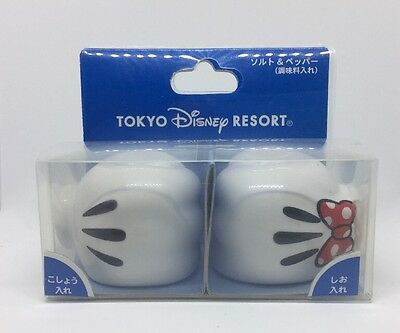 New in Box Mickey Mouse and Minnie Mouse White Gloves Salt and Pepper Shaker Set