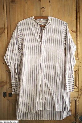 Vintage French POPELIN cotton men's shirt TORN c 1900
