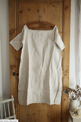Antique French mended FLOPPY LINEN woman nightshirt c 1850