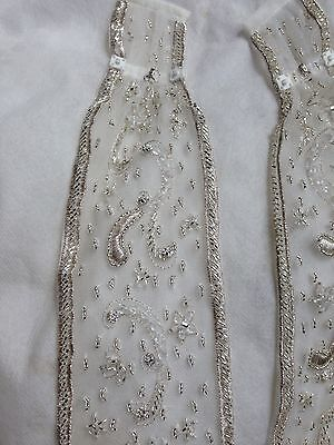 Pair Ivory Tulle/Silver Embroidery Diamante/crystal Beading Wedding Dress Straps