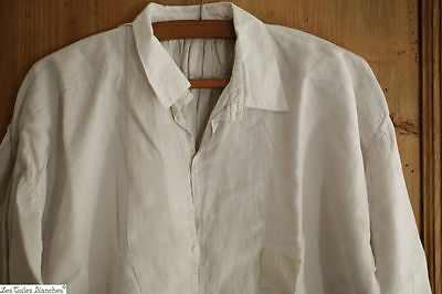Antique French PEASANT linen men's SHIRT AE m c 1880