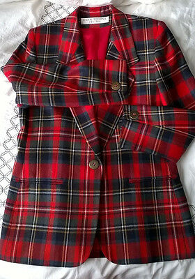 Women's Evan Picone Vintage Red Tartan Blazer.  Wool. Made in the USA.