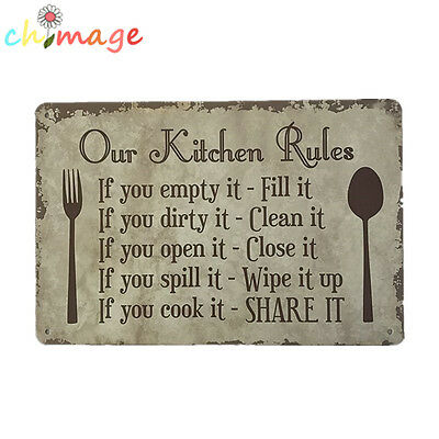 Our Kitchen Rule Vintage Tin Sign Bar pub Shop Home Wall Decor Metal Poster