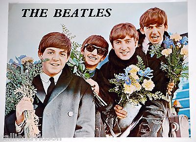 THE BEATLES with Flowers 1960s Original Printing Color 8x10 Cardboard Photo