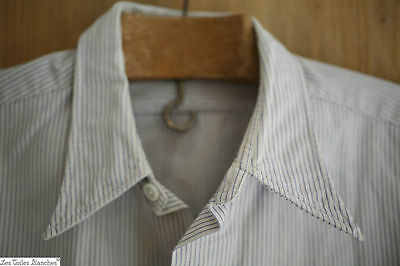 Antique French men's SHIRT cotton STRIPES blue white c 1920