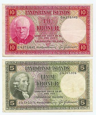 Iceland 5 & 10 Kronur (#56) Nice Notes. Light Folds. Carefully Check out the Pho