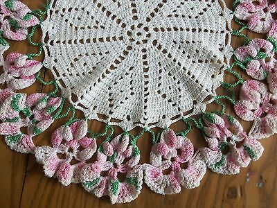 """15"""" Vintage Antique Hand Crocheted Pansy Centerpiece Doily ~Pink Pansies Flowers"""
