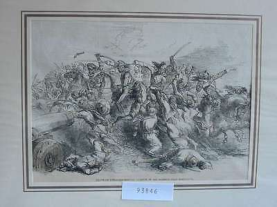 93846-Indien-India-Skirmish-Ramnuggur-General Cureton-T Holzstich-Wood engraving