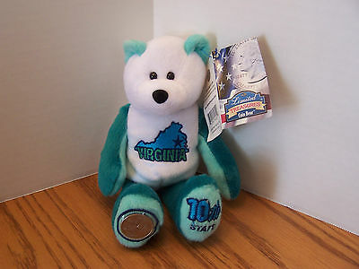 Virginia Bear Limited Edition State Bear With Quarter & With Tags