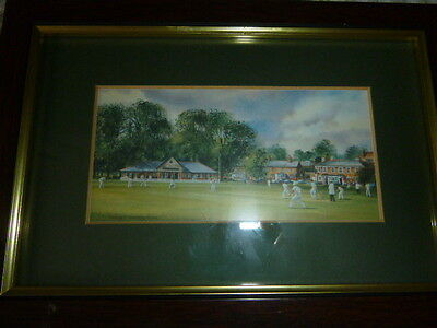 Lovely Terry Harrison Framed Cricket Print Approx 10 X 7