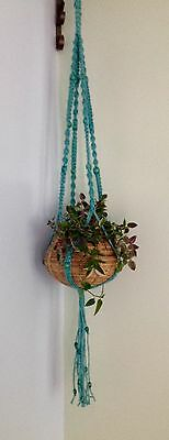 Crackle Bead Handcrafted Macrame Plant Hanger - Unique Gift Idea