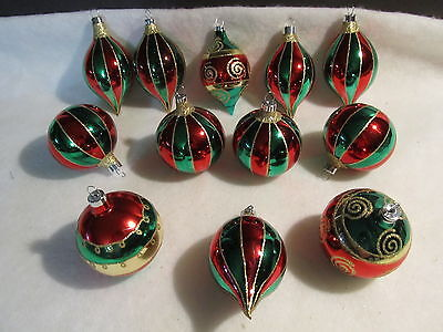 12 VINTAGE GLASS CHRISTMAS  ORNAMENTS - GREEN, RED, GOLD with GLITTER TRIM