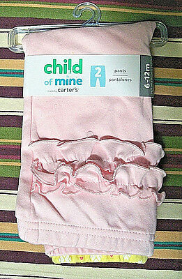 NWT! Child of Mine By Carter's 2 Pair Pants Baby Girl Size 6-12 M Pink & Yellow