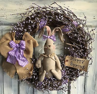 18 Inch Primitive Country Easter Wreath With Burlap Bunny