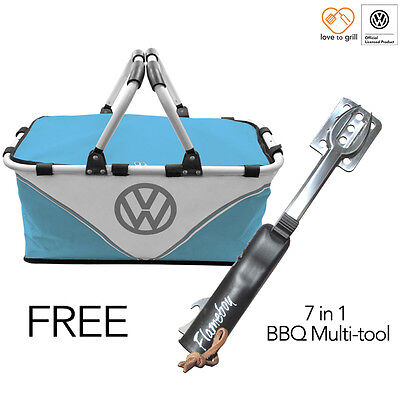 VW BBQ Hamper outdoor camping picnic insulated coolbag FREE utensil cooking tool