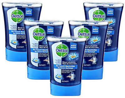 5x Dettol No Touch Refill Hand Wash Blue Lotus Flower Soap Anti Bacterial 250ml